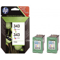 Original HP Druckkopfpatrone color Doppelpack No. 343
